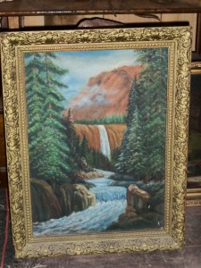 ANTIQUE WATERFALL PAINTING